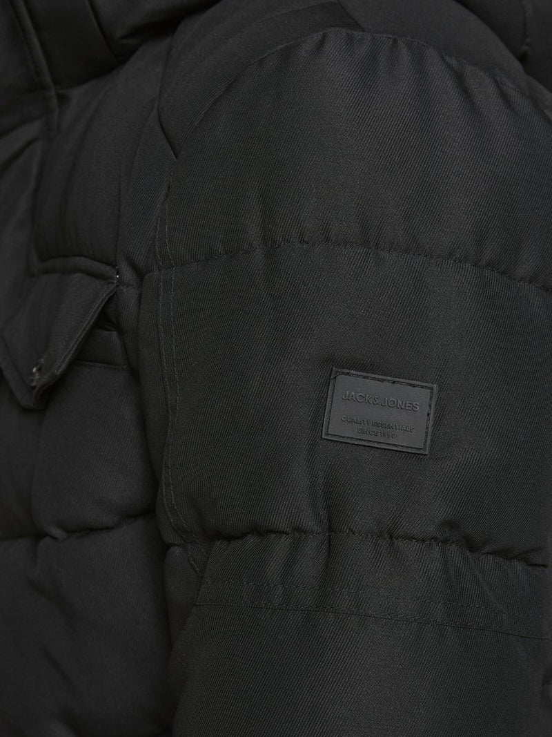Jack & Jones Regan Hooded Puffa Jacket In Black