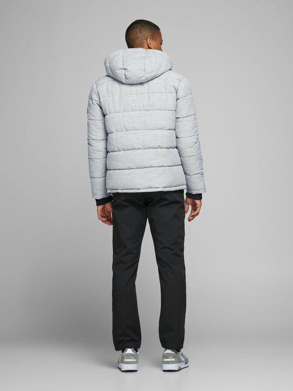 Jack & Jones Regan Hooded Puffa Jacket In Light Grey