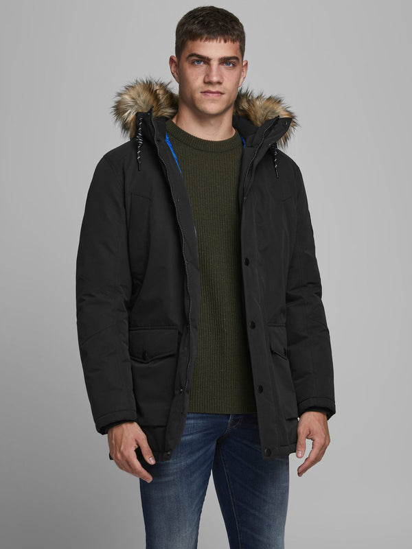 Jack & Jones Sky Faux Fur Lined Hooded Parker 2020 BLACK