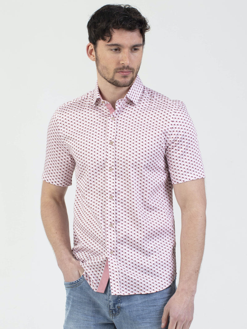 Mish Mash Boston Short Sleeve Mens Geometric Print Shirt in Washed Burgundy