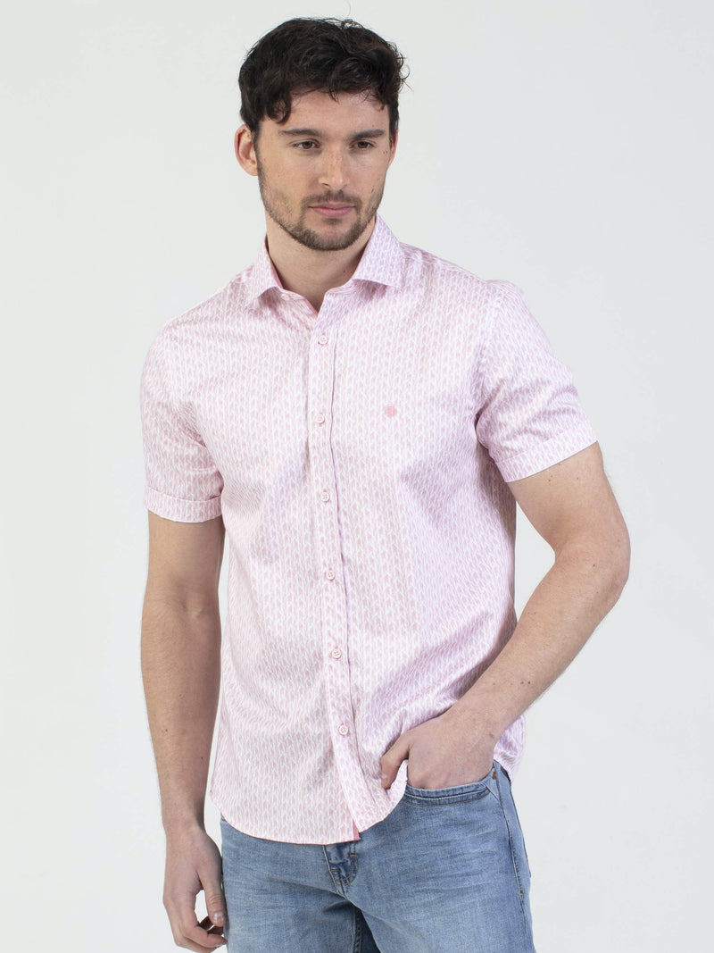 Mish Mash Mojo Short Sleeve Mens Chevron Print Shirt in Pink