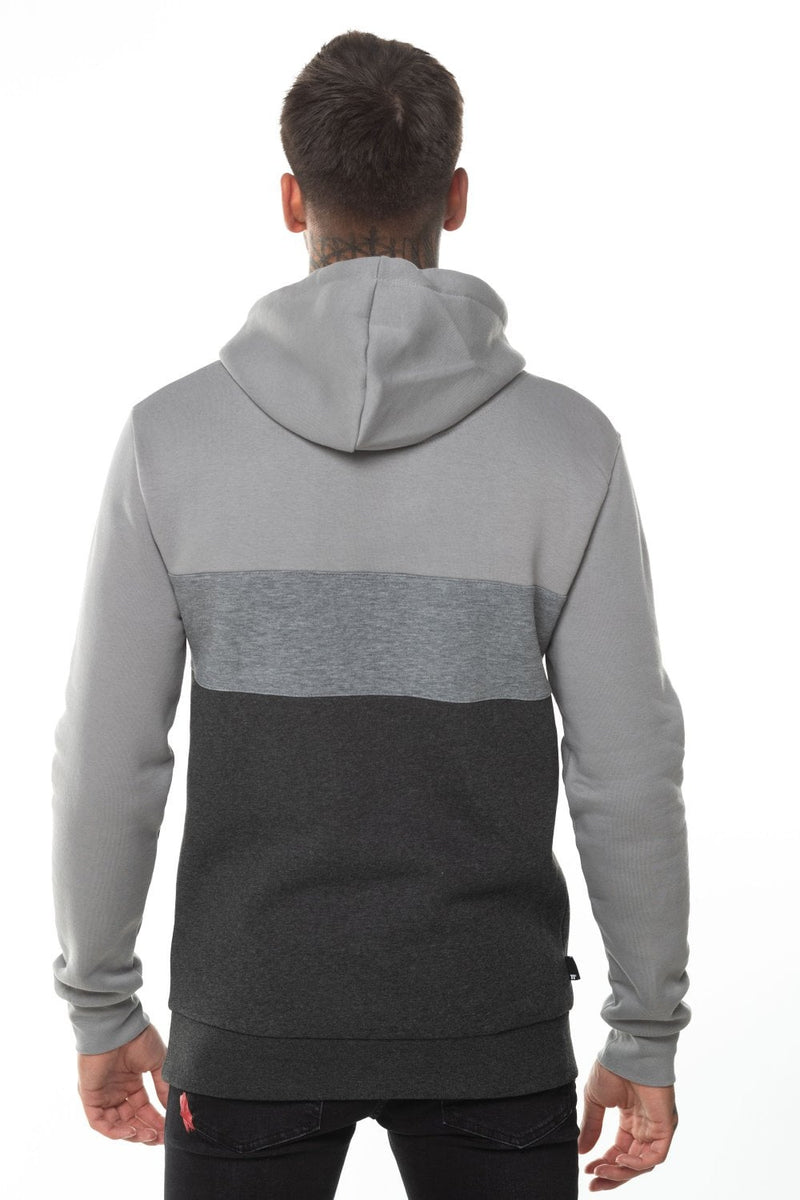 11 Degrees Triple Panel Pull Over Hoodie - Anthracite Marl/Mid Grey/Silver