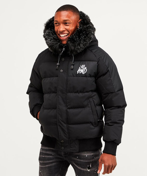 Kings Will Dream Faux Fur Hooded Puffa Jacket Branson in BLACK