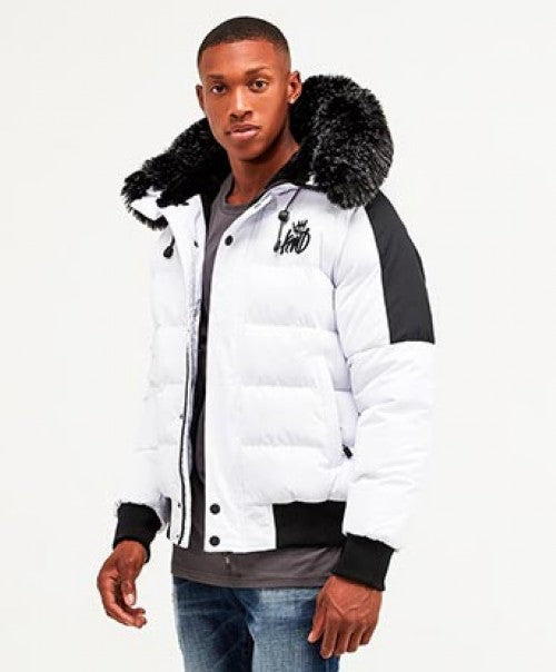 Kings Will Dream Faux Fur Hooded Puffa Jacket Branson in WHITE