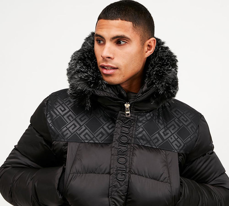 Glorious Gangsta Long Puffer Vernier Mens Jacket in Black