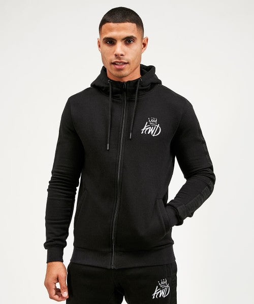 Kings Will Dream Crossly Full Zip Mens Hooded Sweatshirt in BLACK