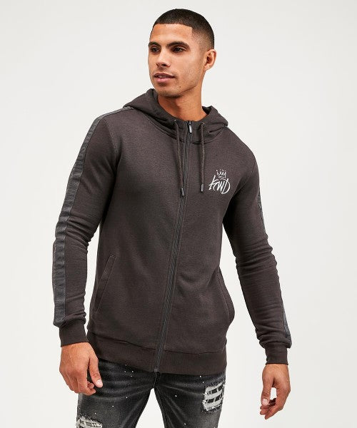Kings Will Dream Crossly Full Zip Mens Hoody in Charcoal