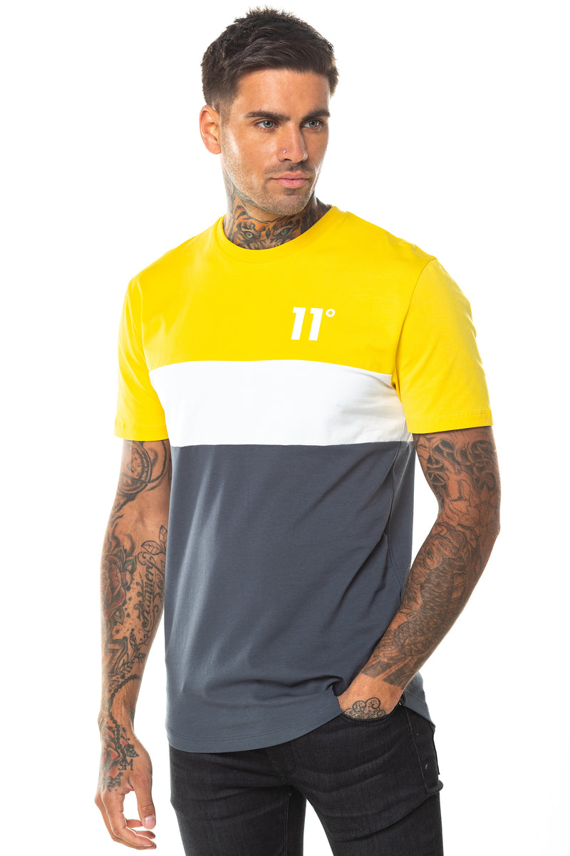 11 Degrees Triple Panel T-Shirt - Anthracite/Mustard/White