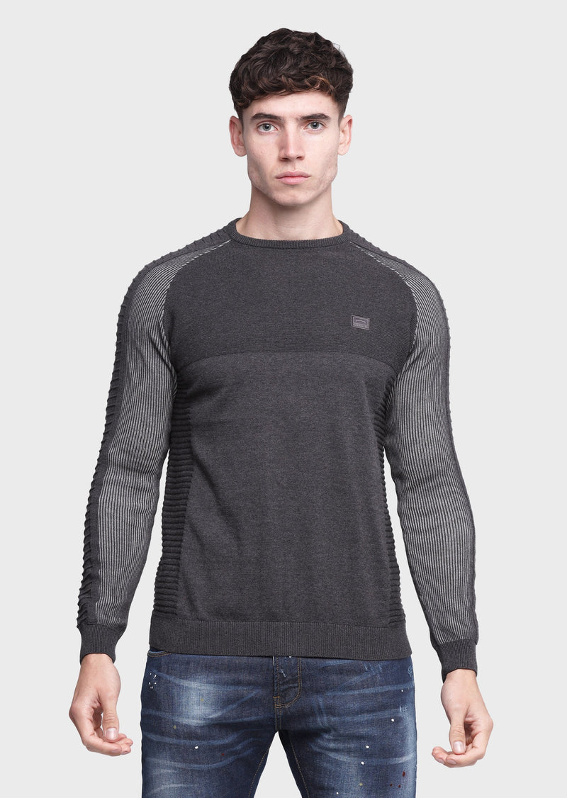 883 Police Bind Crew Neck Mens Knitwear Jumper in Charcoal