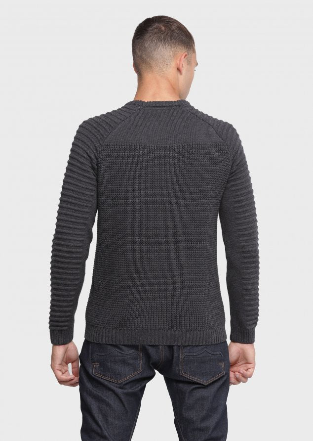 883 Police Mens Ribbed Knitwear Jumper Cradle in Charcoal