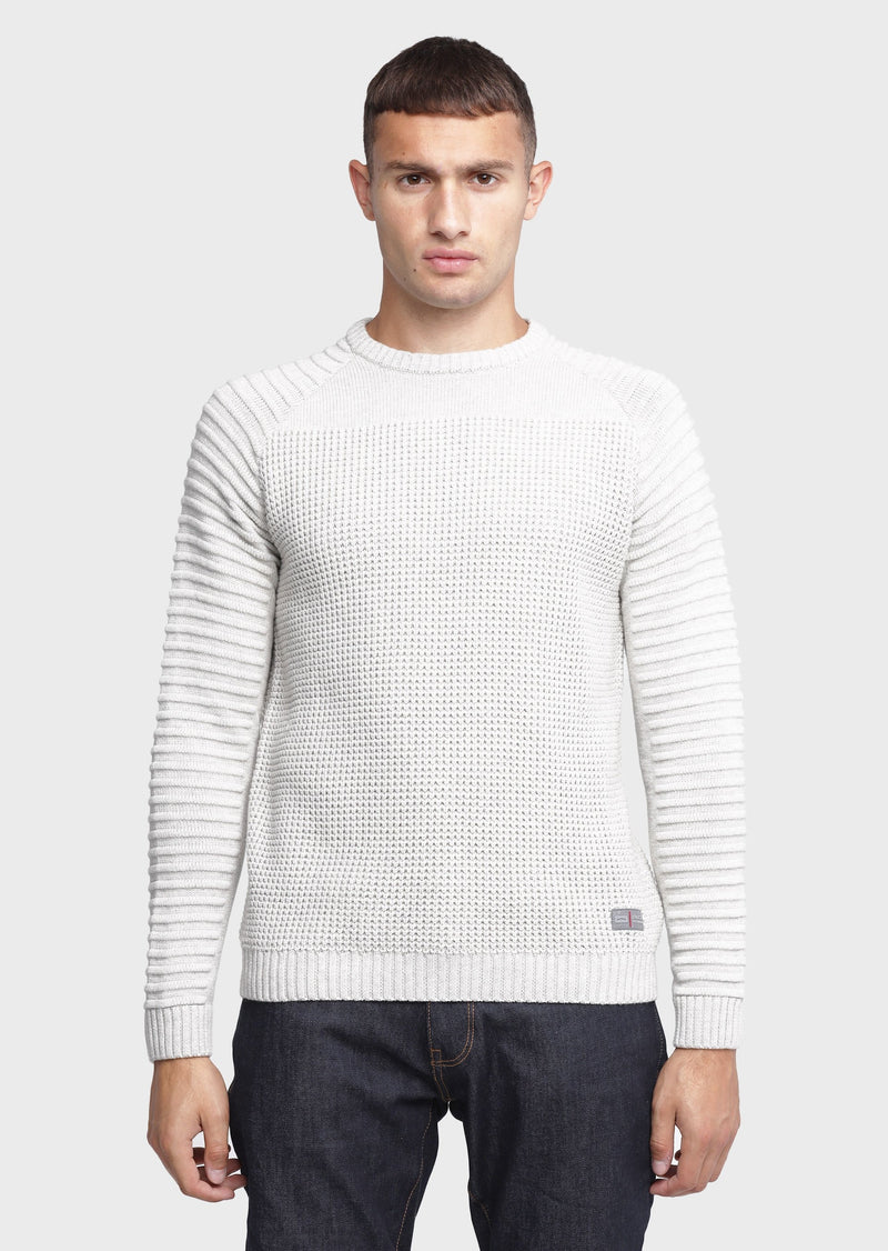 883 Police Mens Ribbed Knitwear Jumper Cradle in Ecru Off White