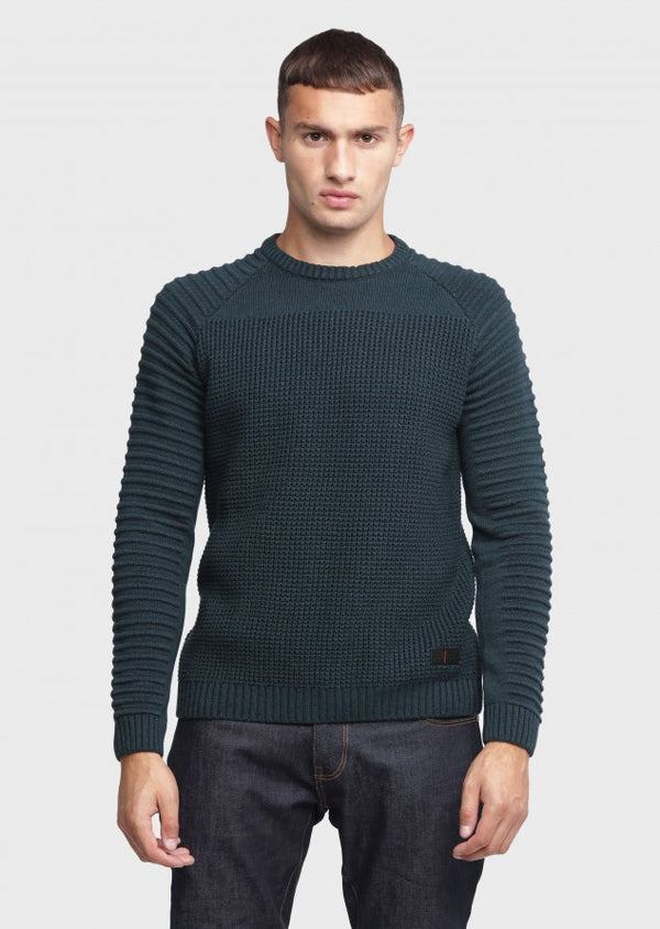 883 Police Mens Ribbed Knitwear Jumper Cradle in Forest Fur Green