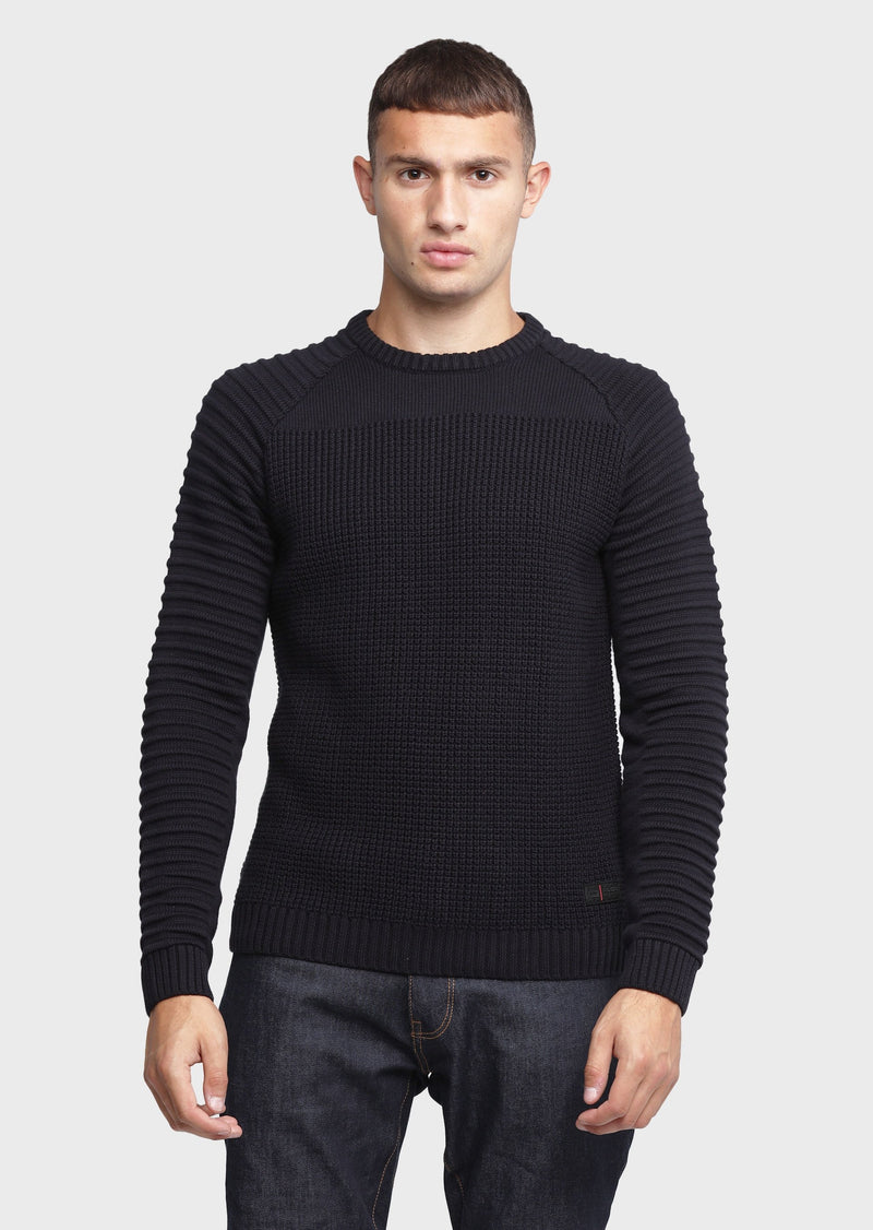 883 Police Mens Ribbed Knitwear Jumper Cradle in Deep Navy Blue