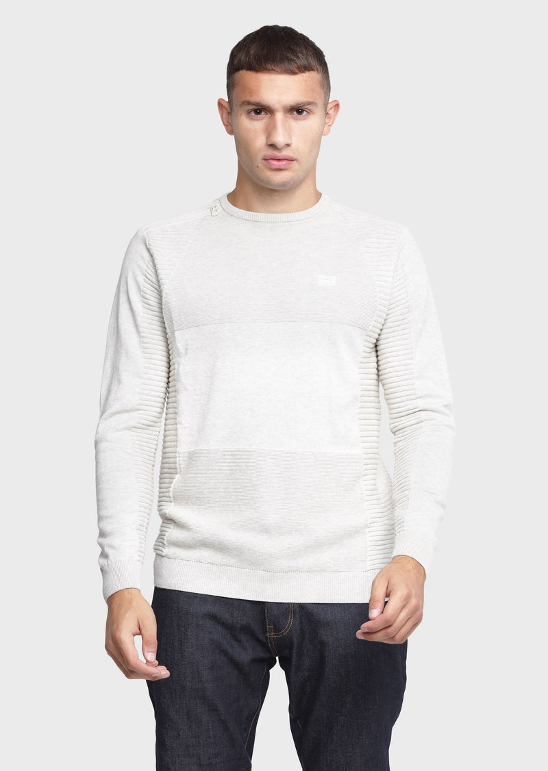 883 Police Merge Crew Neck Ribbed Sleeve in Ecru