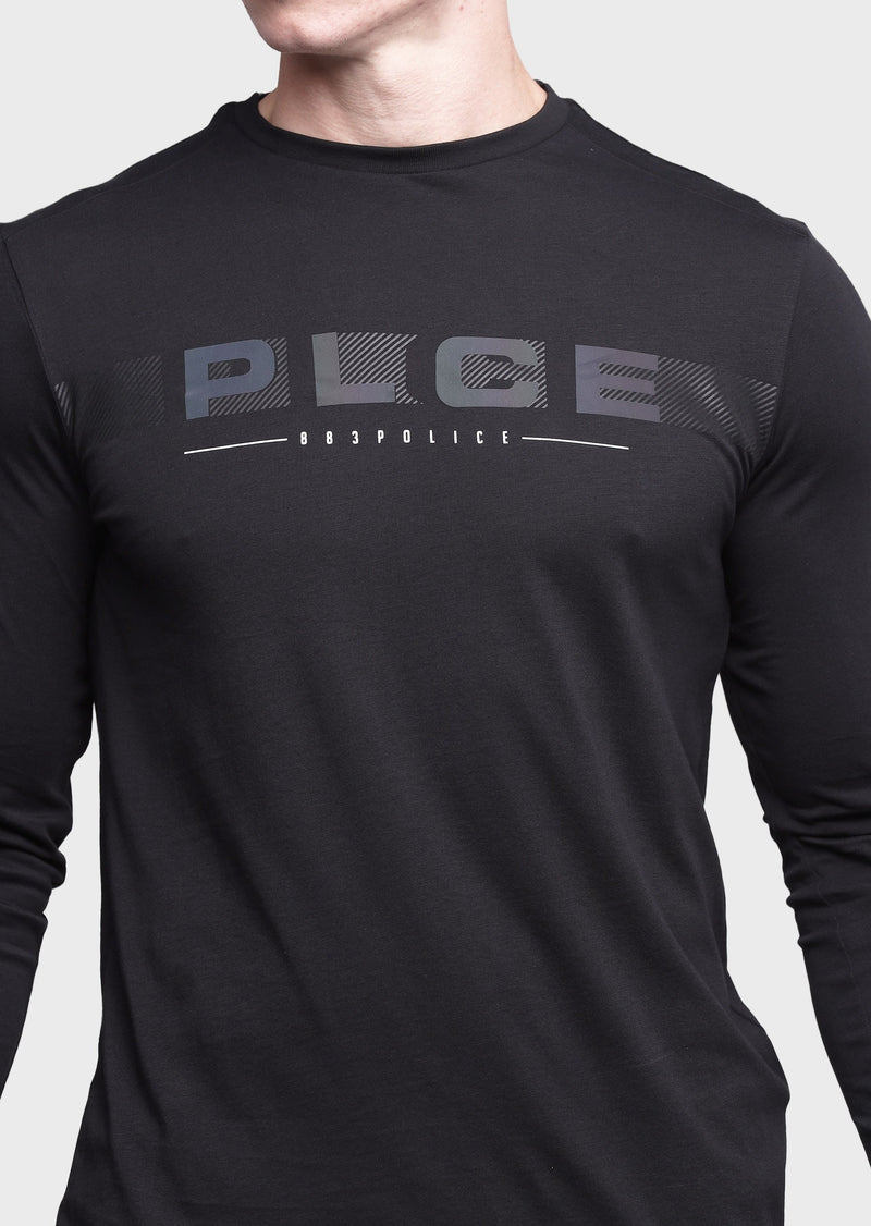 883 Police Rage Long Sleeve Printed logo T-Shirt in Black