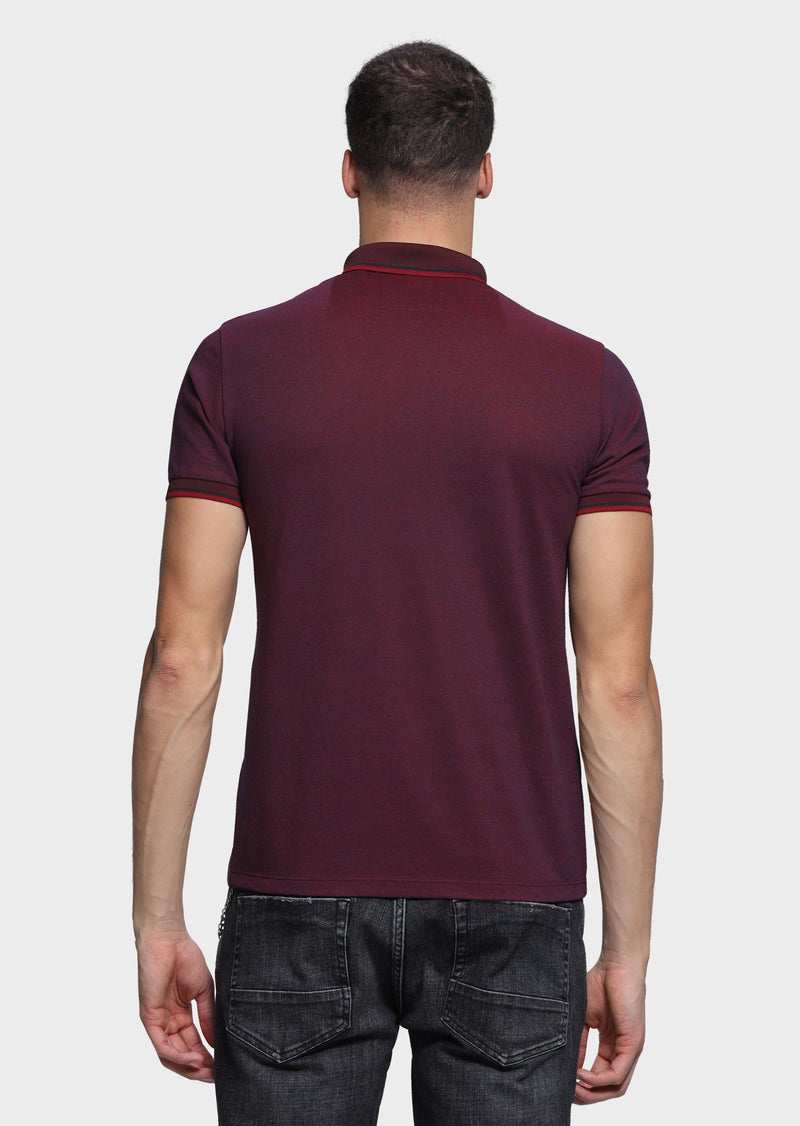 883 Police Mens tipped Short Sleeved Polo Shirt Sarni in Burgundy