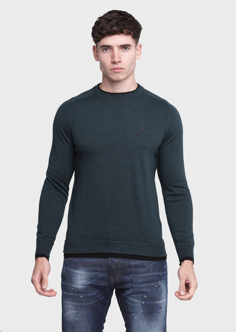 883 Police Twisted Crew Neck Knitwear Jumper in Forest Fur Green