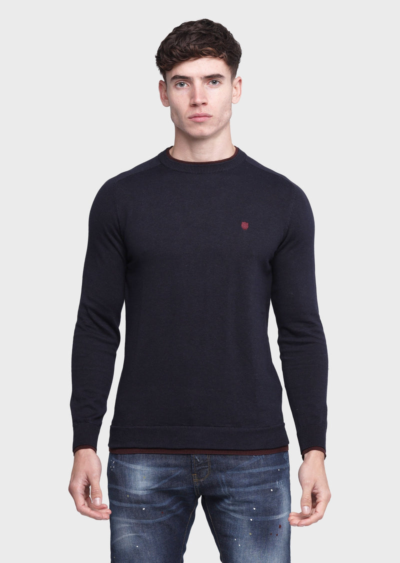 883 Police Twisted Crew Neck Knitwear Jumper in Navy Blue