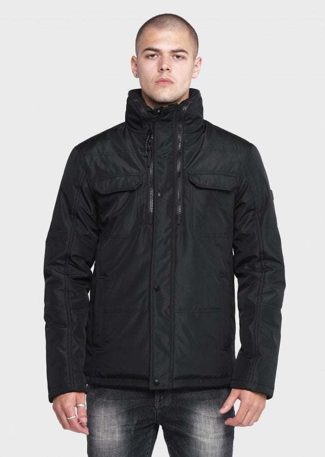883 Police Weyman fabric shell with soft microfiber Jacket in Black