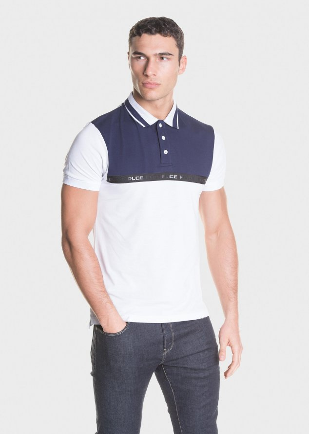883 Police Avonwick Short Sleeved Polo shirt in Navy & White