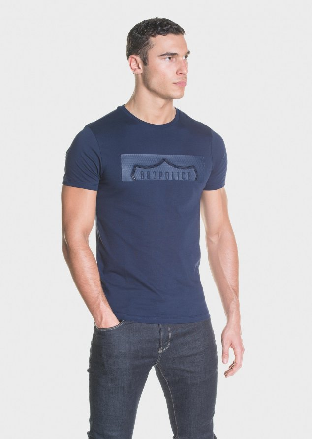 883 Police Azul Cotton T-Shirt with branded textured print in Chest in Navy
