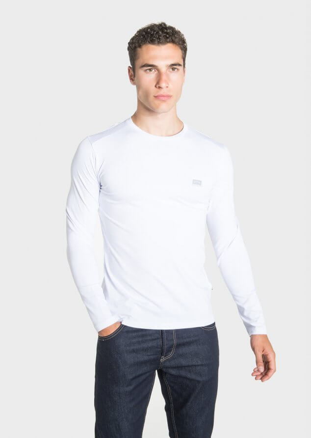 883 Police Host Cotton Jersey Long Sleeved T-Shirt in White