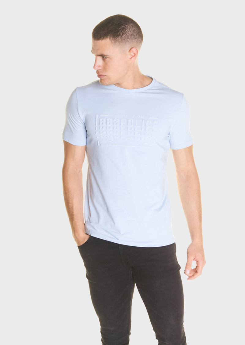 883 Police Clone Cotton Jersey T-Shirt in Sky Blue