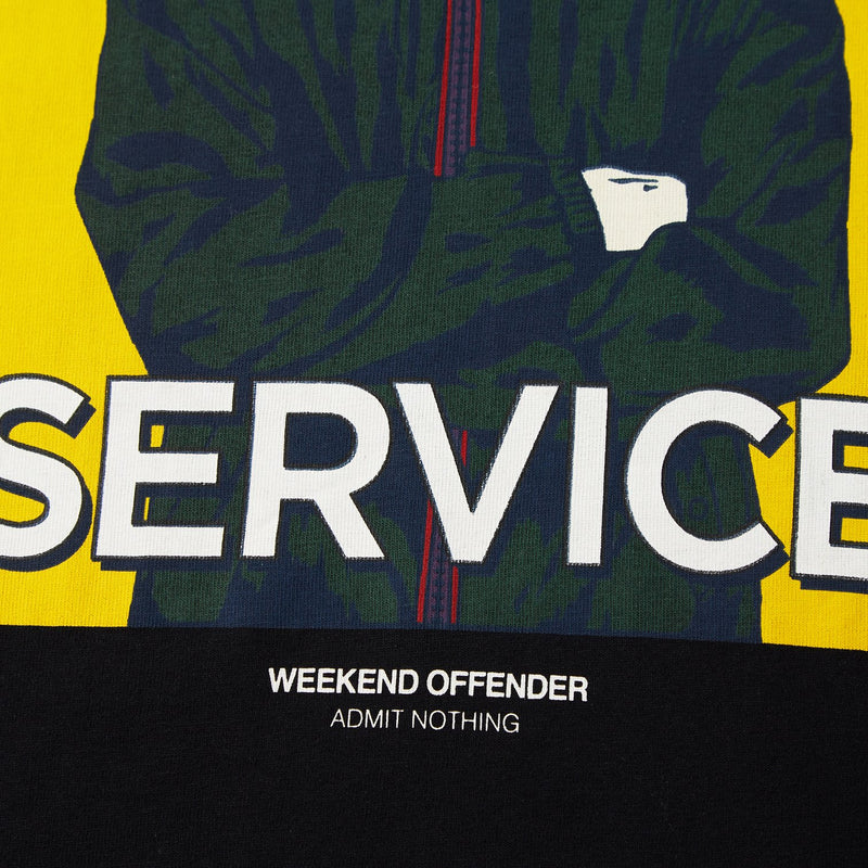Weekend Offender Saturday Service Casual Lads T-Shirt in BLACK