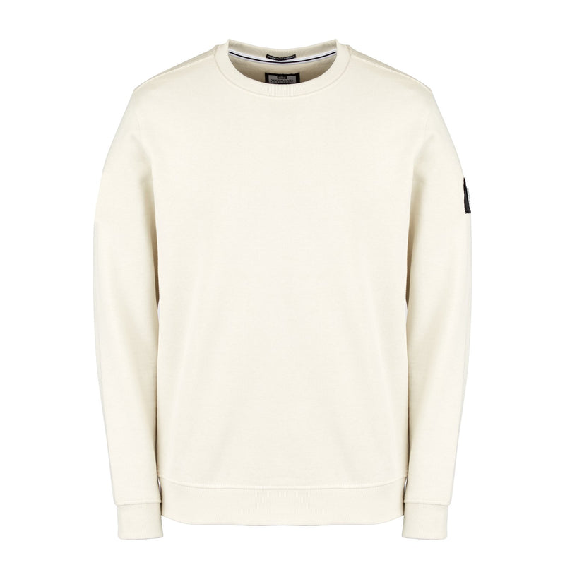 Weekend Offender F Bomb Crew Neck Sweatshirt in Chalk White
