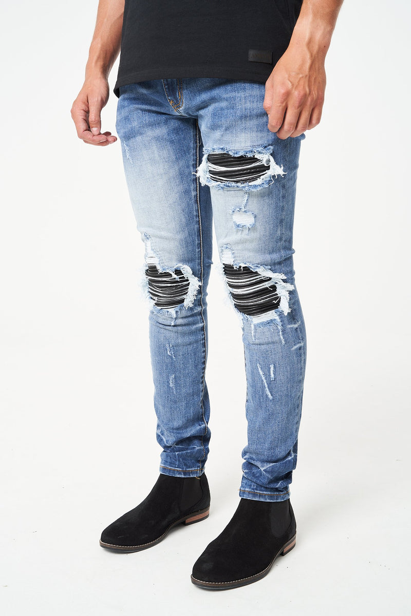 Amicci Sorento bandana backing with distressing Denim Mid Blue