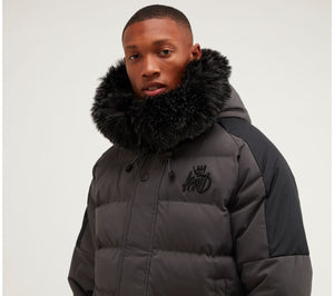 Kings Will Dream Faux Fur Hooded Puffa Jacket Branson in Charcoal Grey
