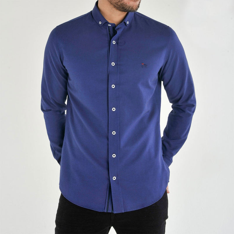 Bewley and Ritch Aland Long Sleeve Oxford Shirt in French Blue
