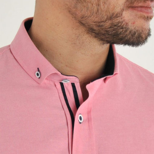 Bewley and Ritch Galand Oxford Short Sleeved Shirt in Rose Pink