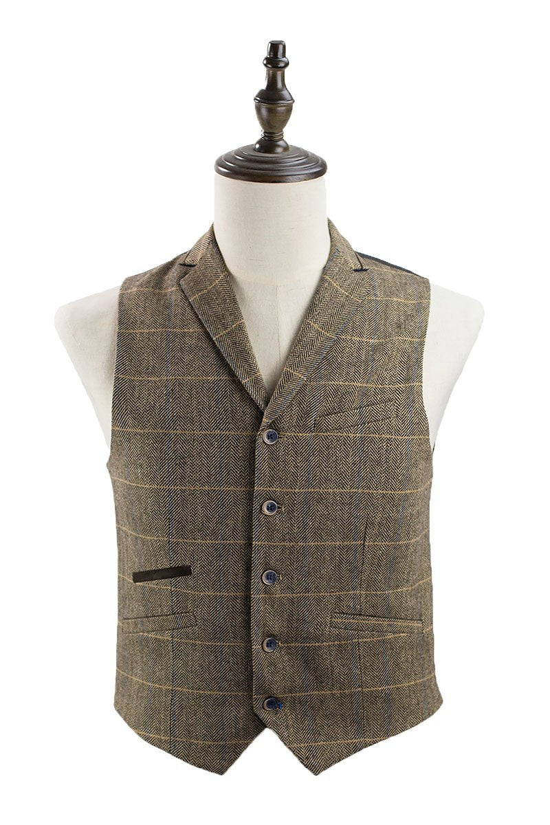 Cavani Albert Tweed Check Waistcoat in Brown