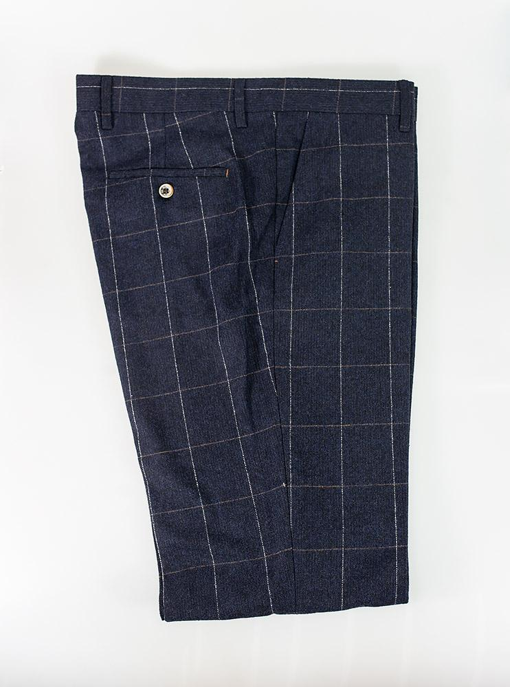 Cavani Angels Slim Fit Trousers in Blue Check