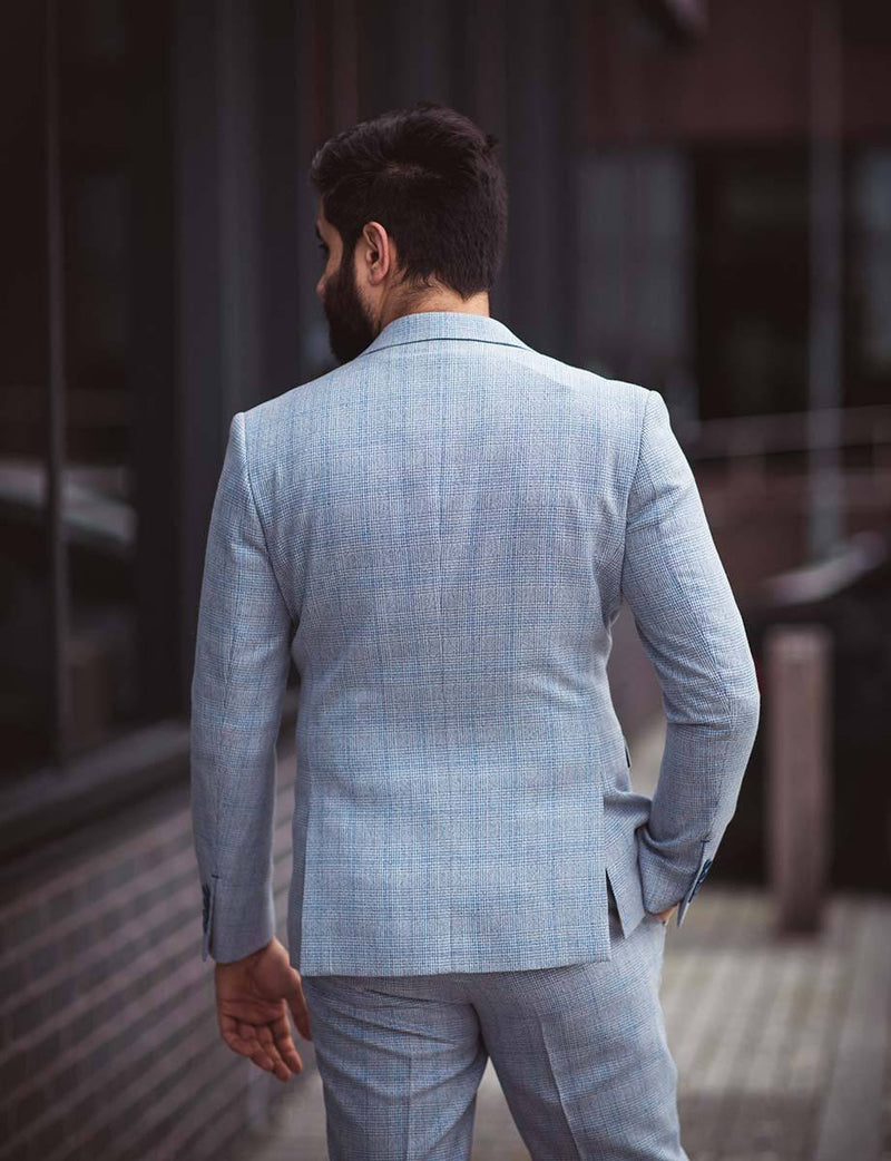 Cavani Caridi Slim Fit Blazer in Sky Blue