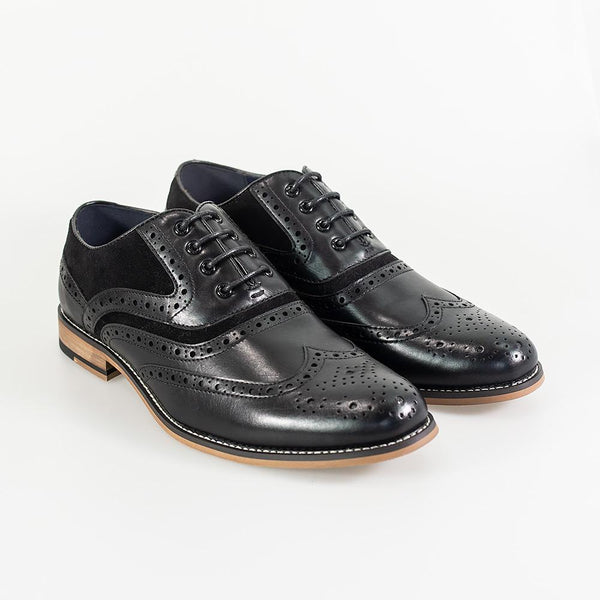 Cavani Ethan Brogues Smart Dress Shoes in Black