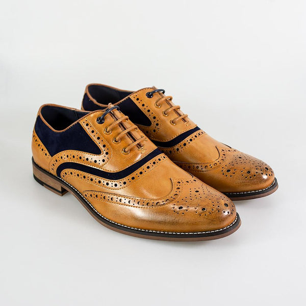 Cavani Ethan Brogues Smart Dress Shoes in Tan And Navy