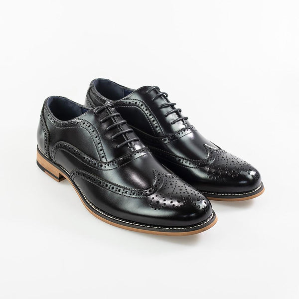 Cavani Oxford Brogues Smart Dress Shoes in Black