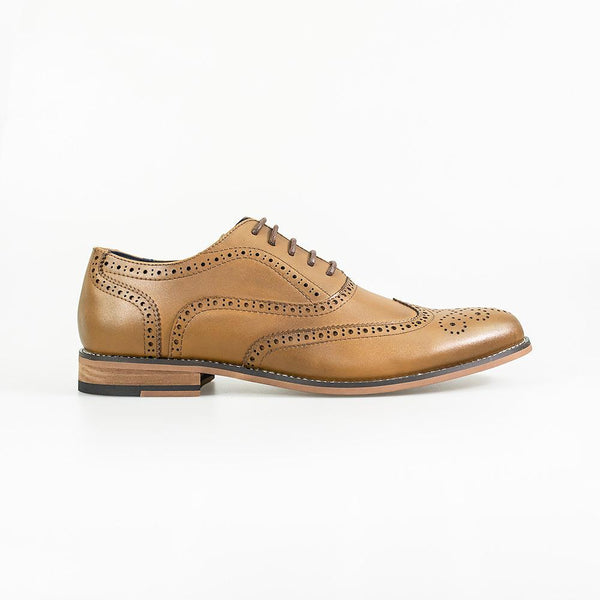 Cavani Oxford Brogues Smart Dress Shoes in Tan