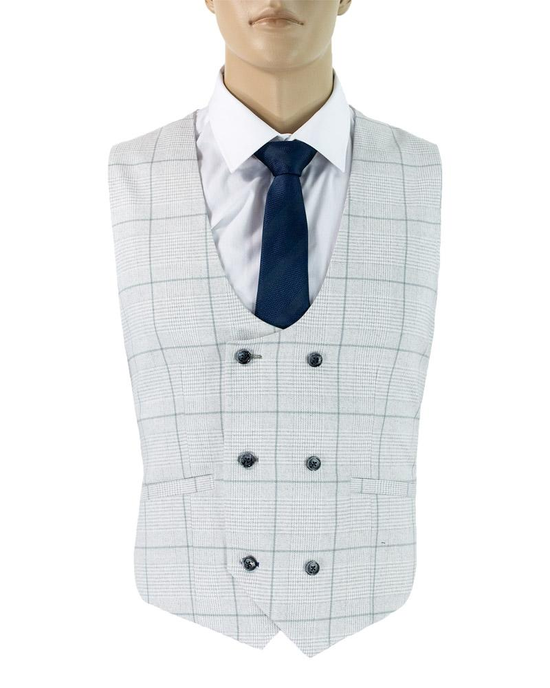 Cavani Radika Check Waist Coat in Light Grey