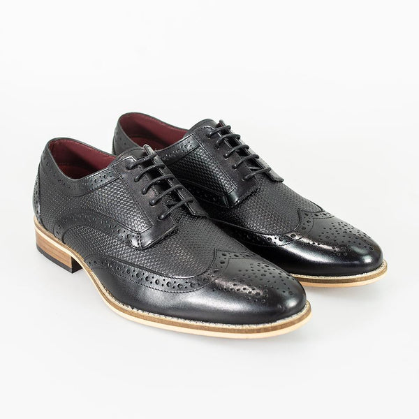 Cavani Tommy Brogues smart dress shoes in Black