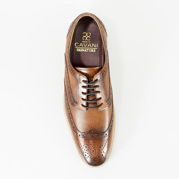 Cavani Tommy Brogues smart dress shoes in Brown