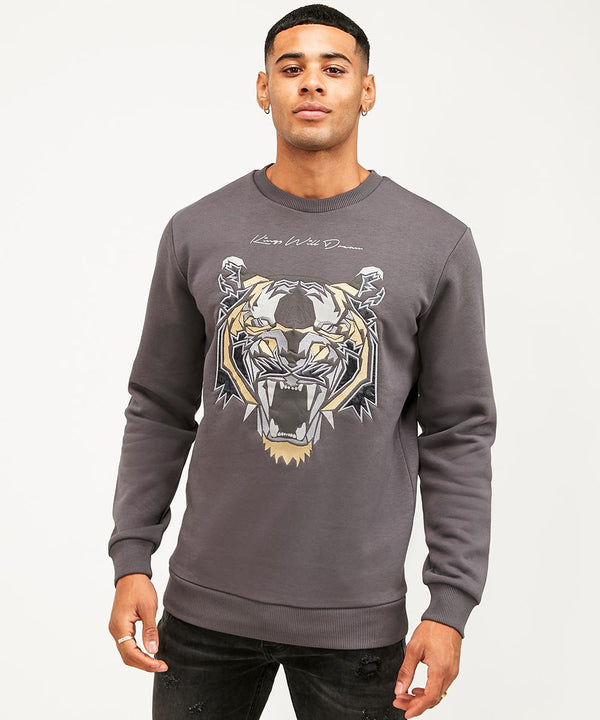 Kings Will Dream NEW Demon Mens Sweatshirt in Grey with Gold