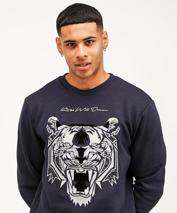 Kings Will Dream NEW Demon Mens Sweatshirt in Navy and Silver
