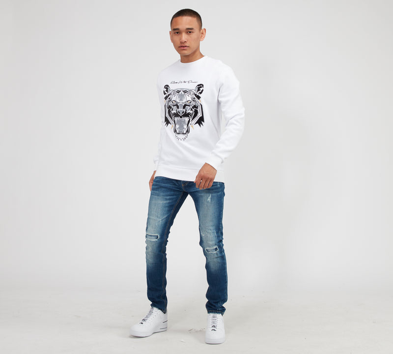 Kings Will Dream Demon Tiger Mesh Sweatshirt WHITE