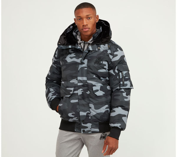 Kings Will Dream Hooded Puffa Bomber Milford Jacket in Camo / Black