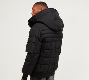 Kings Will Dream Hooded Puffa Bomber Milford Jacket in Black