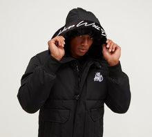 Load image into Gallery viewer, Kings Will Dream Hooded Puffa Bomber Milford Jacket in Black