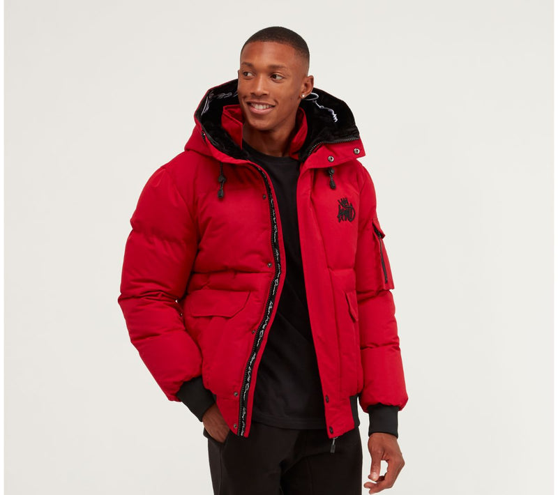 Kings Will Dream Hooded Puffa Bomber Milford Jacket in Red